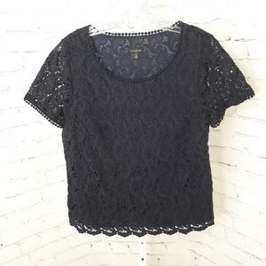 TALBOTS Navy Blue Crochet Lace Top 12